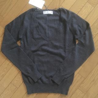 ザラ(ZARA)の新品✨Zara セーター コットン 綿 Vネック グレー(ニット/セーター)