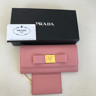 プラダ(PRADA)のプラダ 長財布 ピンク リボン(長財布)