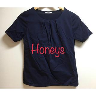 ハニーズ(HONEYS)の美品 ハニーズ 半袖ノンステッチ前タックTシャツ Sサイズ ネイビー 紺(カットソー(半袖/袖なし))