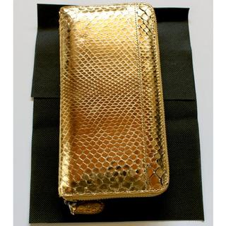 蛇本革使用 幸運を呼ぶゴールド長財布 風水財布(長財布)
