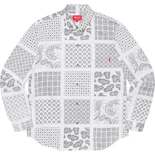 Supreme - 未開封 L Supreme Paisley Grid Shirt White