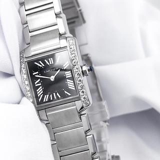 Cartier - 【仕上済】カルティエ フランセーズ 黒文字盤 ダイヤ レディース 腕時計