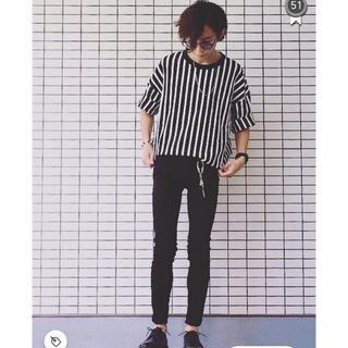 HARE - Lui's 7分袖ストライプBIGTシャツ