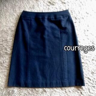 クレージュ(Courreges)のcourreges シンプル ネイビー タイトスカート(ひざ丈スカート)