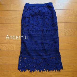 アンデミュウ(Andemiu)のネイビーレーススカート(ひざ丈スカート)