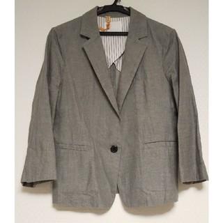 フェリシモ(FELISSIMO)のフェリシモ コットン テーラードジャケット 夏用 七分袖 グレー(テーラードジャケット)