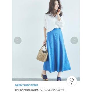 BARNYARDSTORM - バンヤードストーム ★リネンフレアロングスカート★ブルー★サイズ0