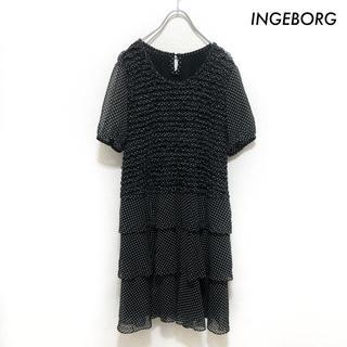 インゲボルグ(INGEBORG)のINGEBORG インゲボルグ★ドット柄 半袖ワンピース ブラック 黒(ひざ丈ワンピース)