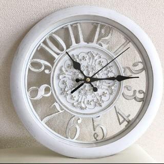 アンティーク 白 フレンチシャビー ウォールクロック 壁掛け 時計 静音