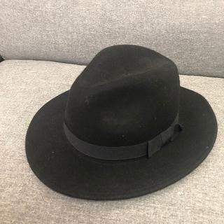 レディース ハット 帽子 黒 美品(ハット)
