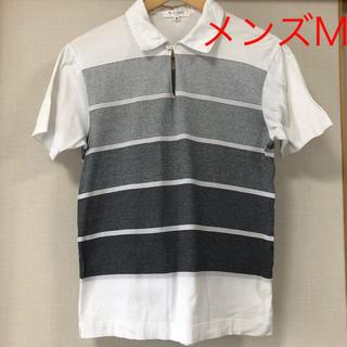 アローズ 白×黒ボーダー 襟つきシャツ メンズM