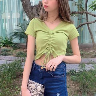SPIGA - Vネック裾リボンTシャツ