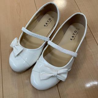 白 ローファー リボン付 23cm エナメル調 プリンセス 発表会(ローファー)