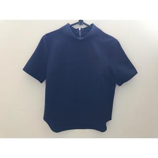 ジーユー(GU)のGU ロールカラープルオーバー ネイビー Mサイズ(シャツ/ブラウス(半袖/袖なし))