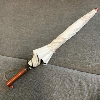 人気 サンバリア100 ボーダー 二段折り ブラウン 保存袋付 日傘 完全遮光(傘)