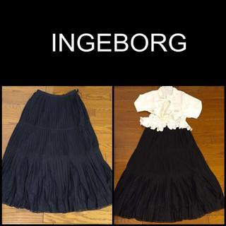 インゲボルグ(INGEBORG)の☆インゲボルグ プリーツレースロングスカート新品タグ付き Sサイズ☆(ロングスカート)