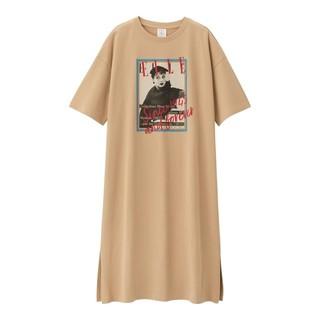 ジーユー(GU)のGUワンピース(5分袖)ELLE2+X 大型店限定 ベージュ Sサイズ(ロングワンピース/マキシワンピース)