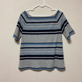 アズールバイマウジー(AZUL by moussy)のトップス Tシャツ 半袖 ボーダー グレー(Tシャツ(半袖/袖なし))