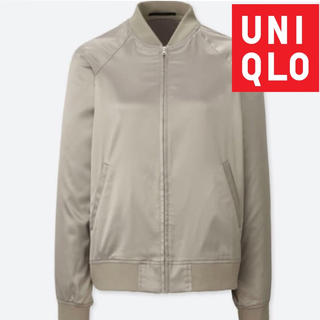 UNIQLO - UNIQLOユニクロ レディースサテンブルゾンMA-1 ブルゾン グレーホワイト