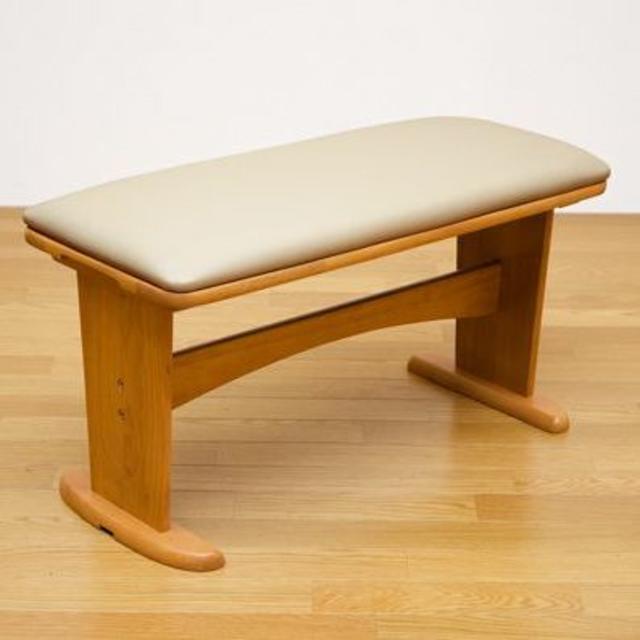 ATOLL ダイニングベンチ ライトブラウン 木製 PVCレザー インテリア/住まい/日用品の椅子/チェア(ダイニングチェア)の商品写真