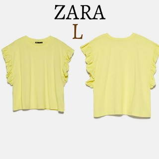 ザラ(ZARA)の今季 新品 ZARA ザラ フリル袖 クルーネック Tシャツ トップス(Tシャツ(半袖/袖なし))