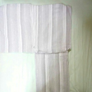 メンズ 浴衣 白×グレー ラメストライプ LLサイズ(浴衣)