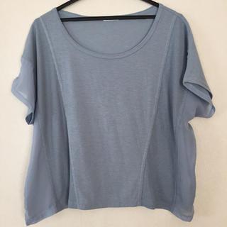 ジーユー(GU)のジーユー カットソー トップス Mサイズ GU ブルー系 Tシャツ(Tシャツ(半袖/袖なし))