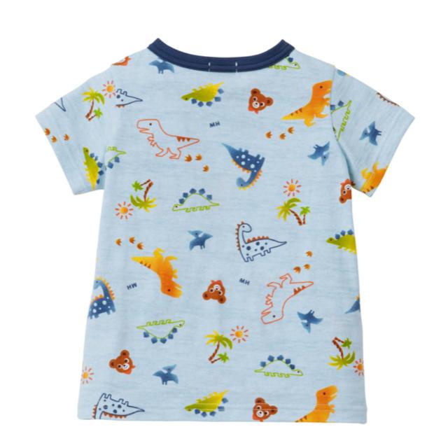 mikihouse(ミキハウス)のプッチー&恐竜柄半袖Tシャツ ブルー110㎝  キッズ/ベビー/マタニティのキッズ服男の子用(90cm~)(Tシャツ/カットソー)の商品写真