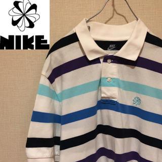 ナイキ(NIKE)の【風車NIKE!】NIKE 風車胸元刺繍ワンポイントロゴ 半袖ボーダーポロシャツ(ポロシャツ)