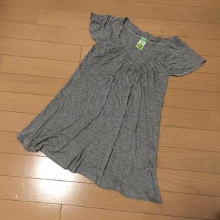 ザラ(ZARA)のザラVネックチュニックカットソーグレー(Tシャツ(半袖/袖なし))