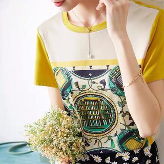 フォクシー(FOXEY)のスカーフ地の異色素材ストレッチTシャツ M(Tシャツ(半袖/袖なし))