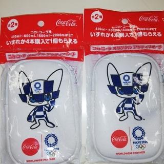 コカコーラ(コカ・コーラ)のコカコーラ非売品  2個組白アクティブポーチ(ノベルティグッズ)