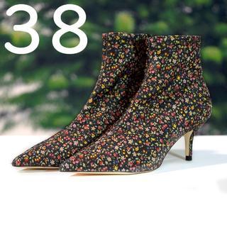 ザラ(ZARA)のZARA WOMAN フラワープリント アンクルヒール ブーツ 38 ザラ(ブーツ)