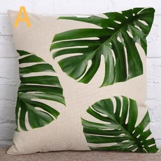 クッションカバー 熱帯植物柄A 45cm×45cm  ボタニカル(クッションカバー)