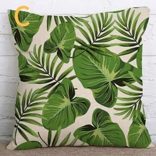 クッションカバー 熱帯植物柄C 45cm×45cm  ボタニカル(クッションカバー)