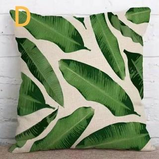 クッションカバー 熱帯植物柄D 45cm×45cm  ボタニカル(クッションカバー)