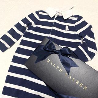 ラルフローレン(Ralph Lauren)の9M/75 新品 ビッグポニー ラガー ポロシャツ ロンパース / ネイビー(ロンパース)