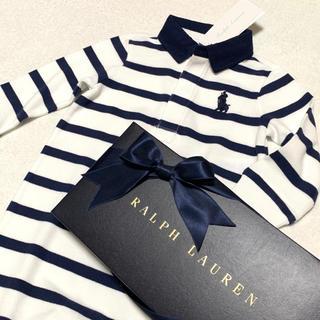 ラルフローレン(Ralph Lauren)の9M/75 新品 ビッグポニー ラガー ポロシャツ ロンパース / ホワイト(ロンパース)