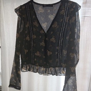 ザラ(ZARA)のZARA flower blouse top(シャツ/ブラウス(長袖/七分))