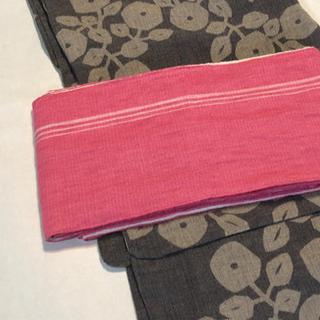 麻の半幅帯 ピンク × ホワイト(浴衣帯)
