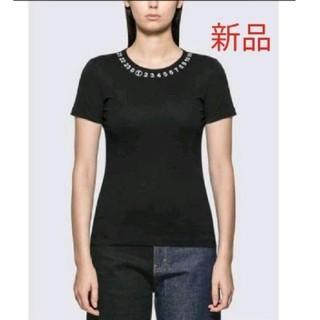 マルタンマルジェラ(Maison Martin Margiela)の新品 メゾンマルジェラ ラウンドネック  ロゴ  Tシャツ 黒 S(Tシャツ(半袖/袖なし))