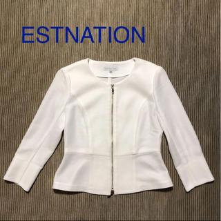 ESTNATION - エストネーション ペプラムノーカラージャケット