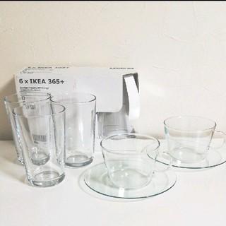 イケア(IKEA)の美品★IKEA カップ&ソーサー2客★耐熱ガラスコップ6個★コルクコースター4個(食器)