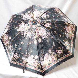 CA026 薔薇 バラ 長傘 可愛い 厚手 ブラック(傘)