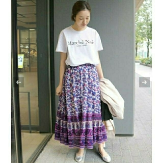 イエナスローブ(IENA SLOBE)のスローブイエナ SARA MALLIKA×SLOBE別注スカート パープル(ロングスカート)