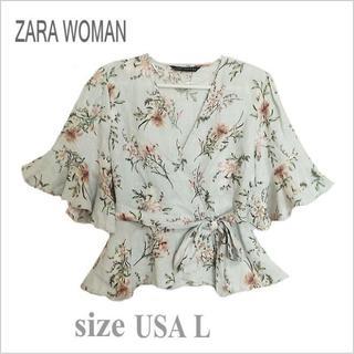 ザラ(ZARA)の【ZARA WOMAN】淡ブルーグレー系花柄リネンカシュクールブラウス*USAL(シャツ/ブラウス(半袖/袖なし))