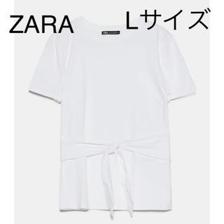 ザラ(ZARA)のZARA  リボンTシャツ Lサイズ(Tシャツ(半袖/袖なし))
