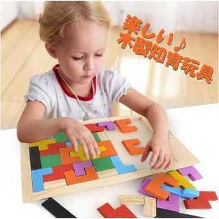 木製 知育 玩具 カラフル バラエティー パズル テトリス ブロック おもちゃ