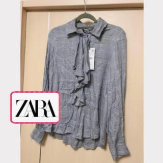 ザラ(ZARA)のZARA  大人気完売 グレー チェックシャツ フリル リボン(シャツ/ブラウス(長袖/七分))
