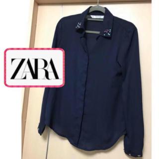 ザラ(ZARA)のZARA大人気完売ブラウス シフォン高見え ネイビーシャツ ビジューつき(シャツ/ブラウス(長袖/七分))